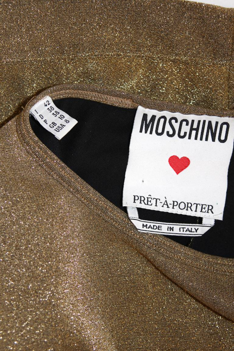 Moschino Gold Metallic Wrap Panel Holiday Sleeveless Blouse Size 42 For Sale 2