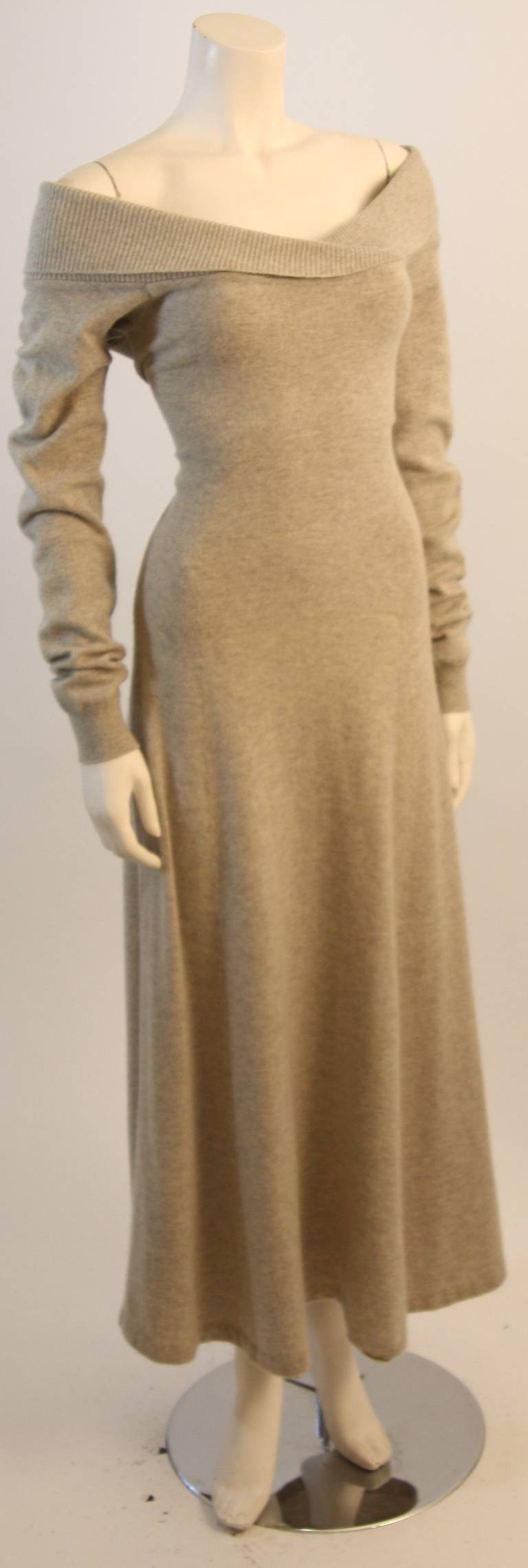 Ralph Lauren Full Length Cashmere Off-the-shoulder Dress Size Medium 5