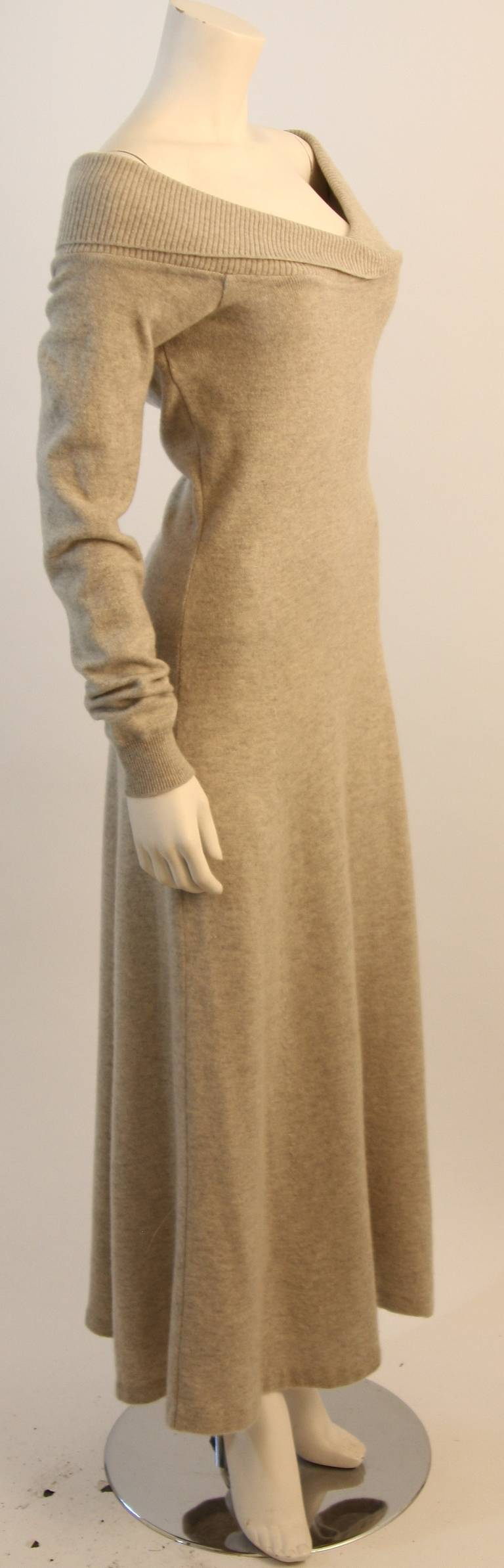 Ralph Lauren Full Length Cashmere Off-the-shoulder Dress Size Medium 6