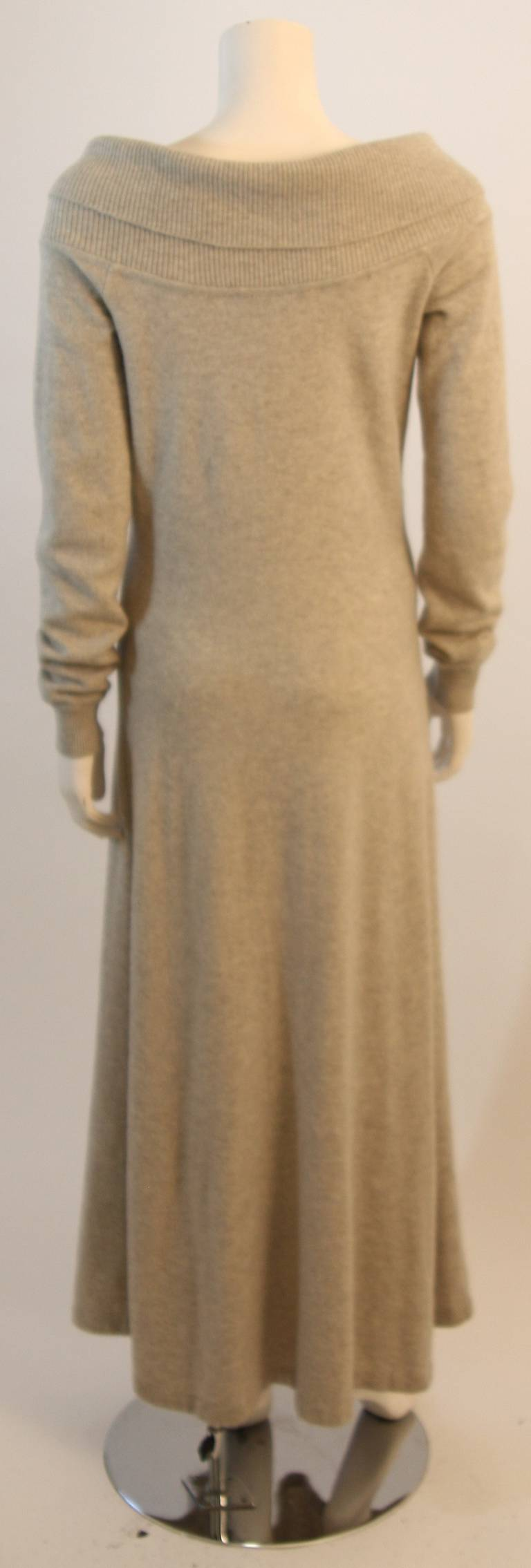 Ralph Lauren Full Length Cashmere Off-the-shoulder Dress Size Medium 9