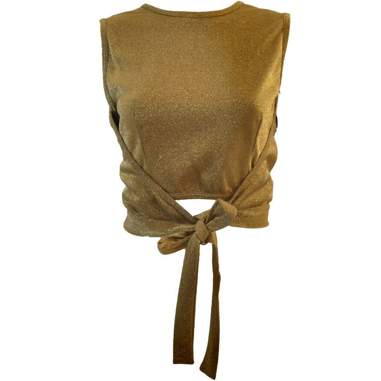 Moschino Gold Metallic Wrap Panel Holiday Sleeveless Blouse Size 42 1