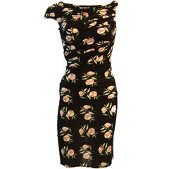Gianni Versace Black with Pink Roses Ruched Silk Jersey Dress Size 40