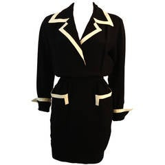 Fabulous Moschino Couture! Classic Pocket Dress with White Piping Detail Size 44