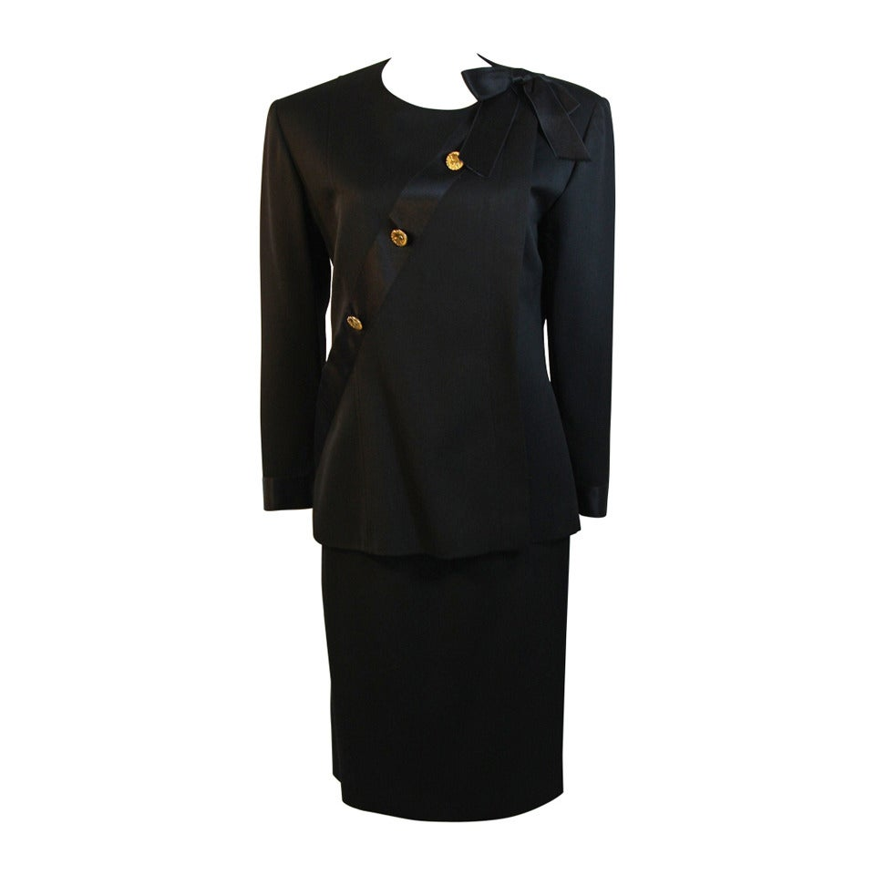1990s Chanel Black wool with Silk Ribbon Sash & Bow Jacket & Skirt Suit