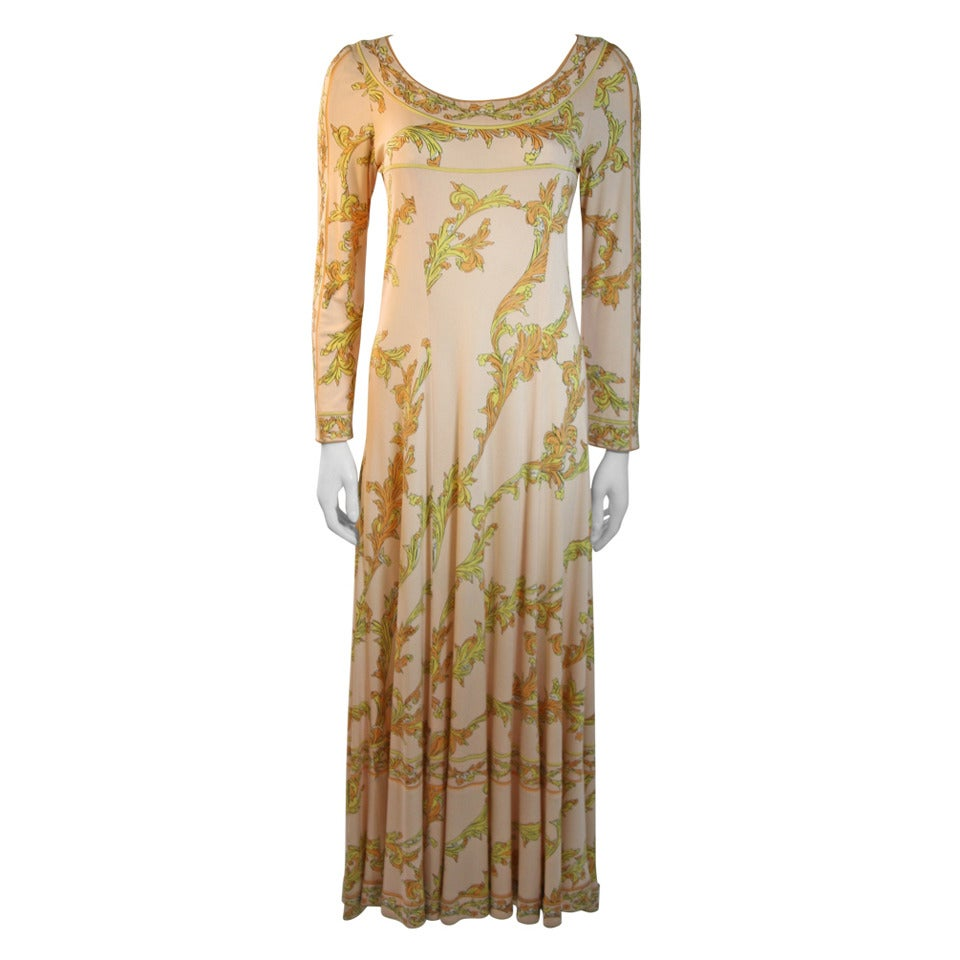 Emilio Pucci 1970s Peach with Yellow print silk jersey empire gown
