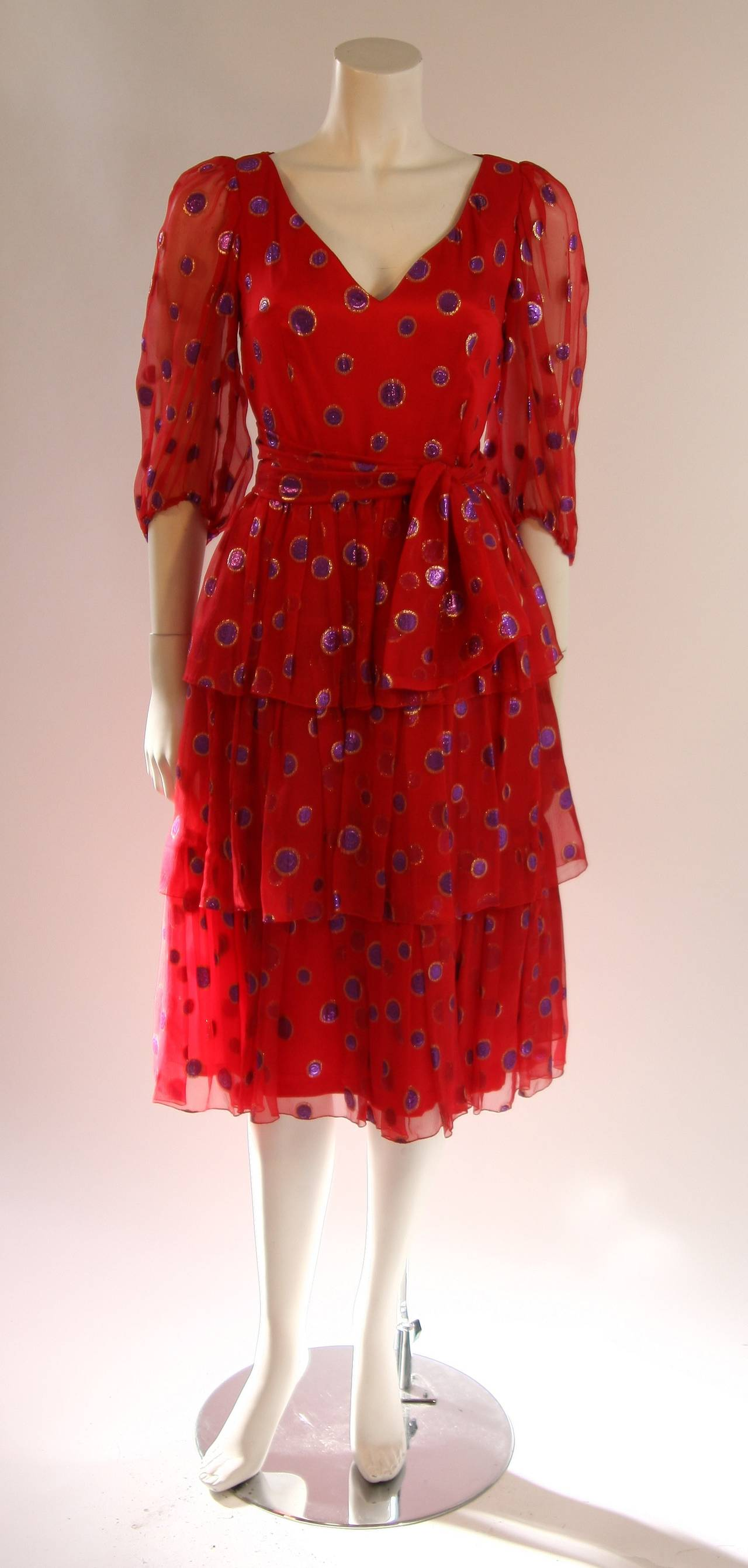 1970's Custom Made Red Silk Tired Dress with Purple Metallic Accents 3