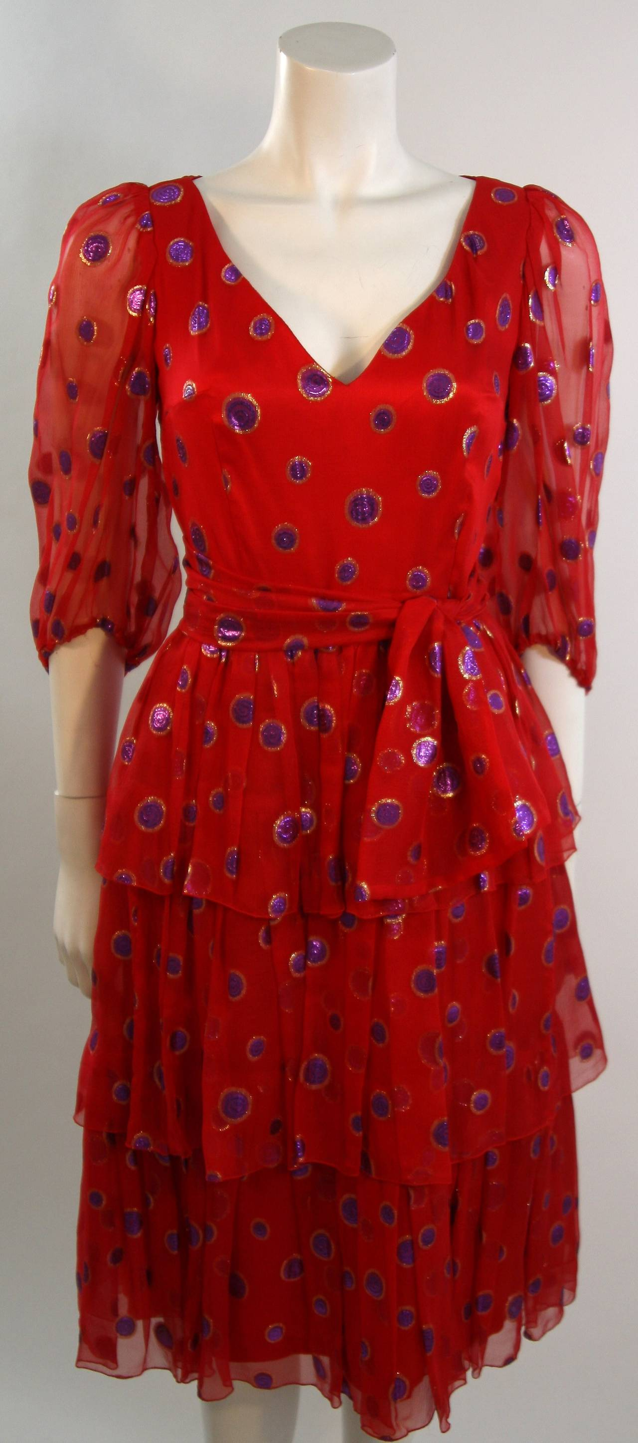 1970's Custom Made Red Silk Tired Dress with Purple Metallic Accents 4