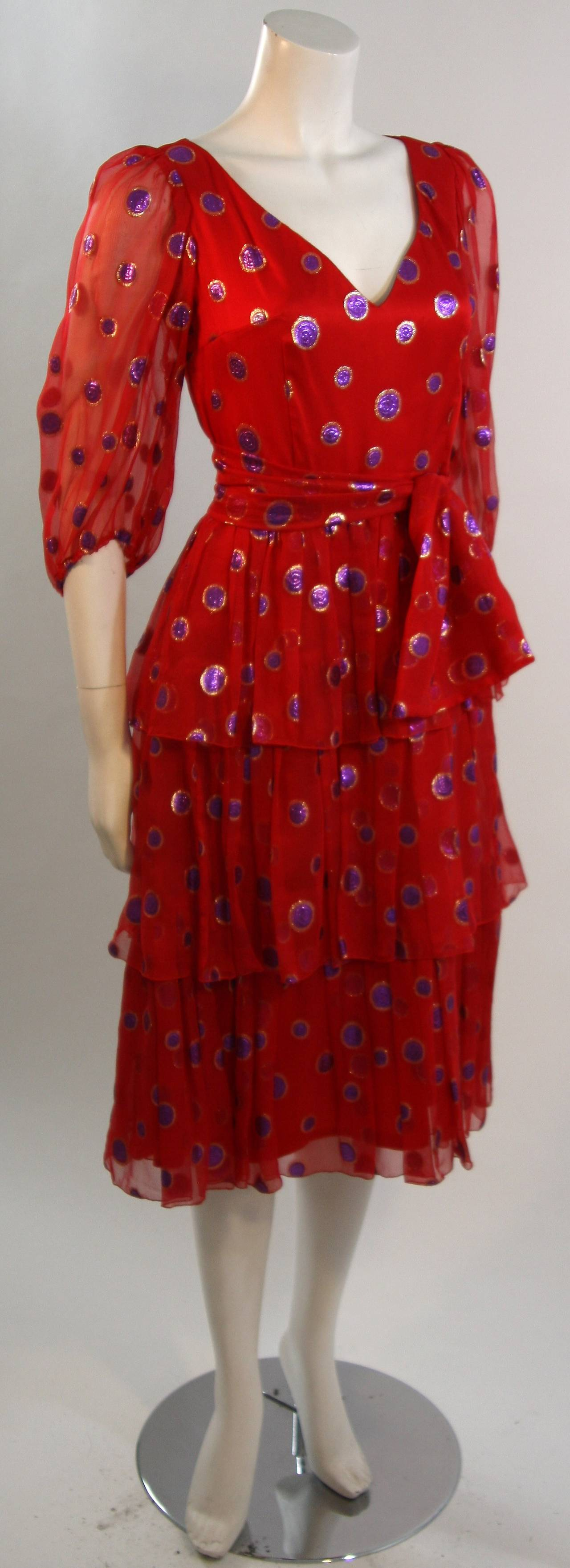 1970's Custom Made Red Silk Tired Dress with Purple Metallic Accents 5