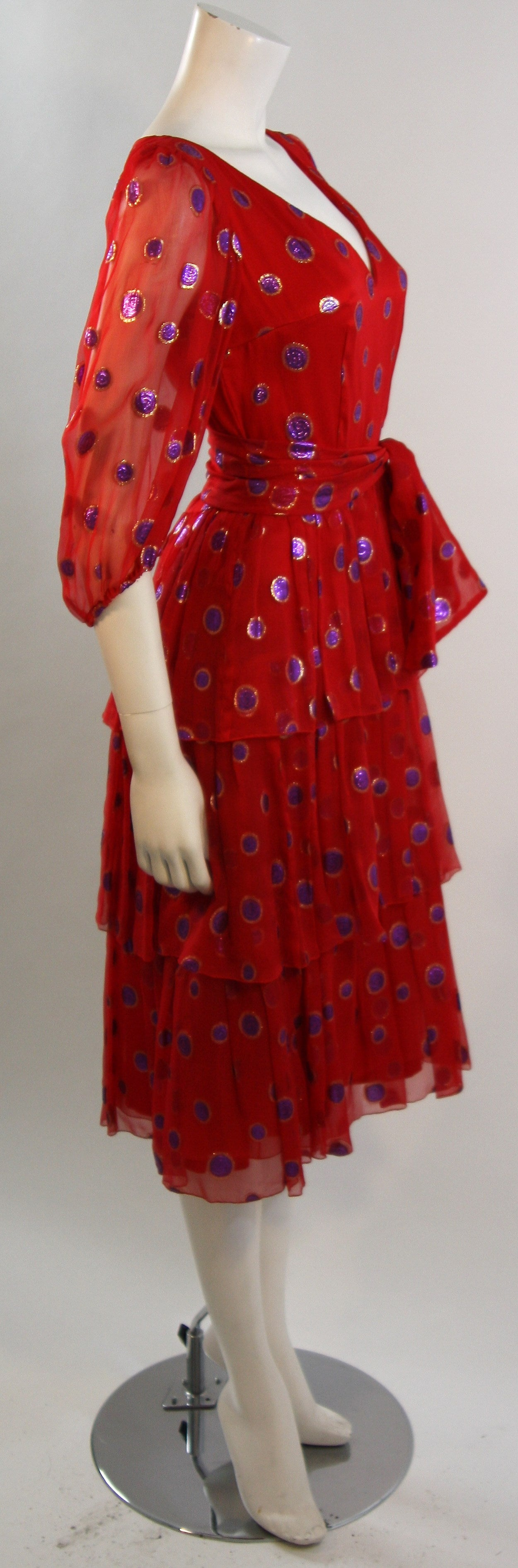 1970's Custom Made Red Silk Tired Dress with Purple Metallic Accents 7