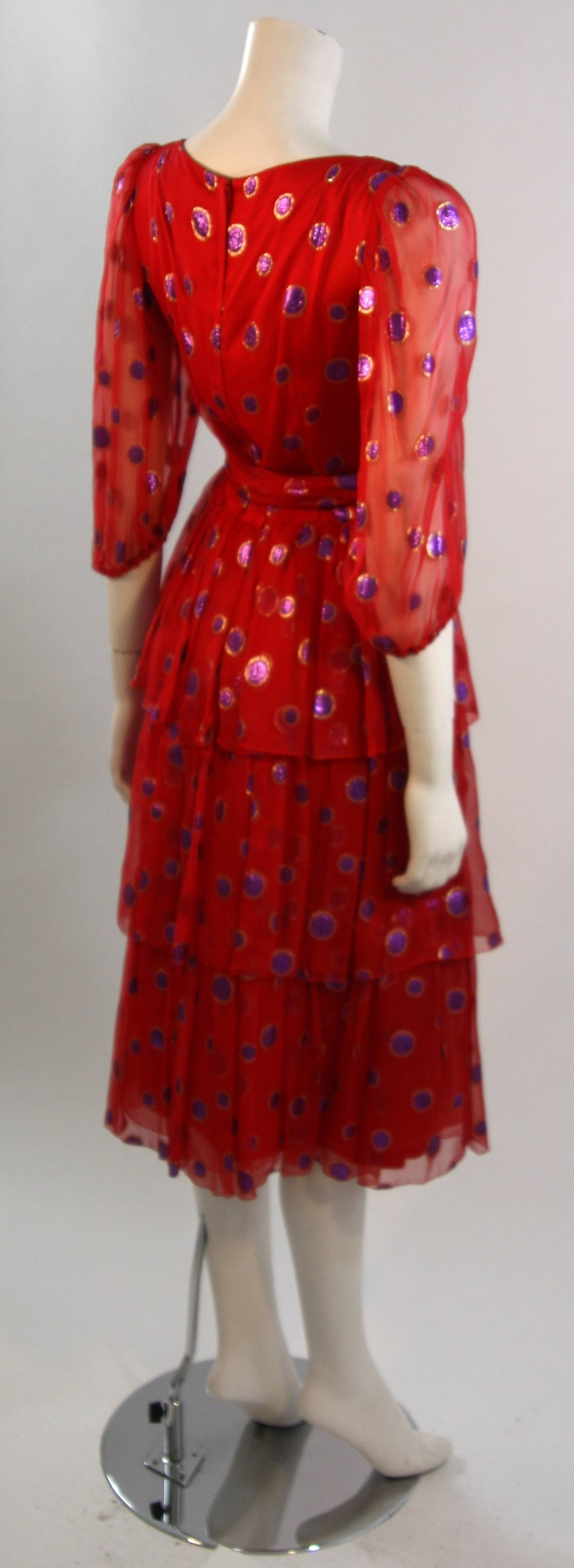 1970's Custom Made Red Silk Tired Dress with Purple Metallic Accents 8