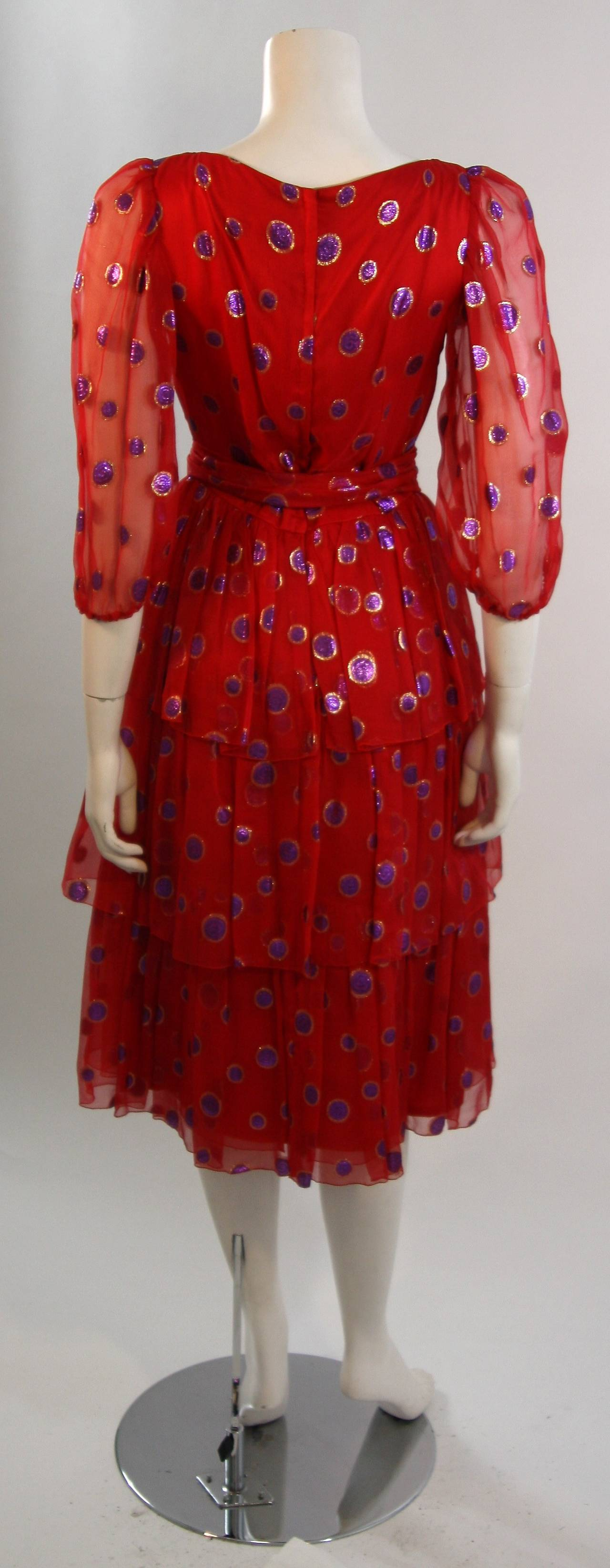 1970's Custom Made Red Silk Tired Dress with Purple Metallic Accents 9
