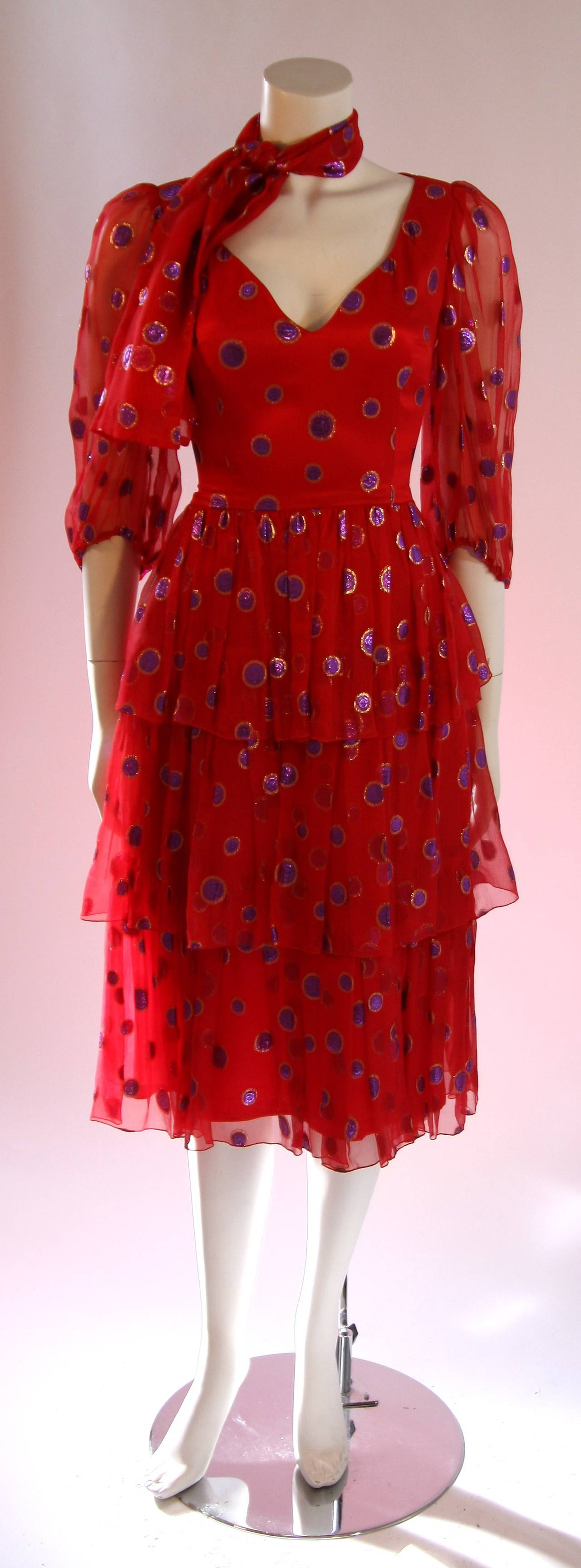 1970's Custom Made Red Silk Tired Dress with Purple Metallic Accents 2