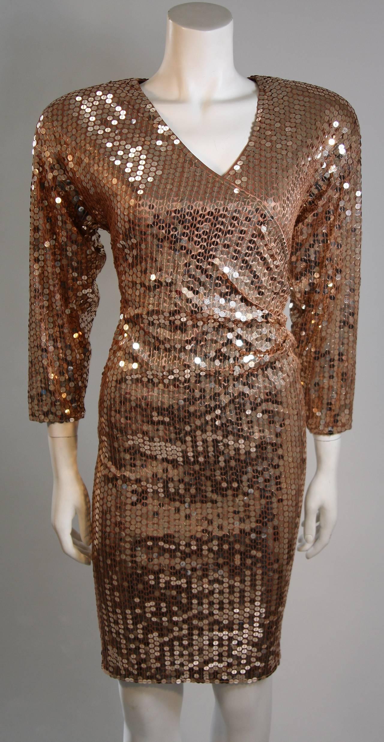 Oleg Cassini Champagne Rose Gold Sequin Cocktail Dress Large 2