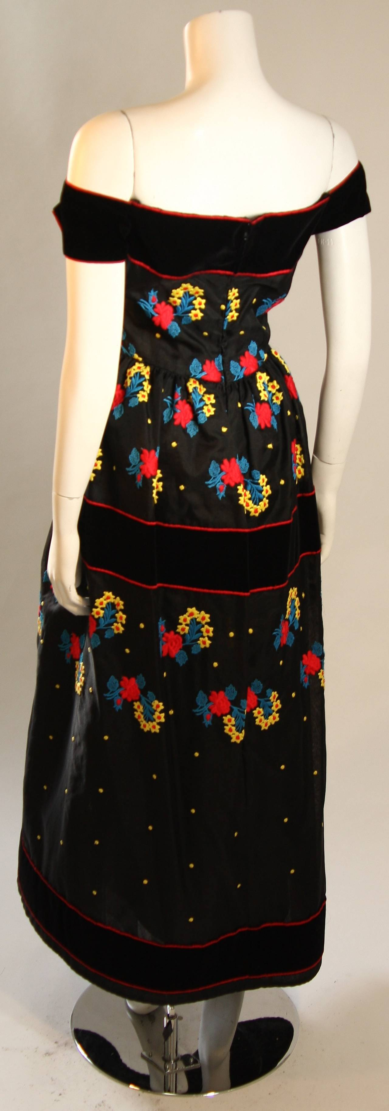Arnold Scaasi Black Velvet Embroidered Gown with Belt For Sale 3
