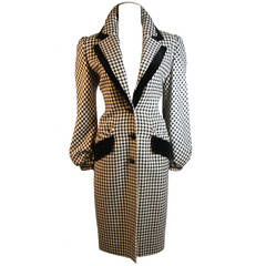 Valentino Houndstooth Coat with Velvet Accents