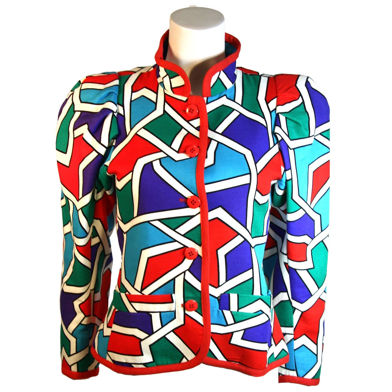 Yves Saint Laurent Color Block Design Jacket Size 38