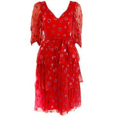 1970's Custom Made Red Silk Tired Dress with Purple Metallic Accents