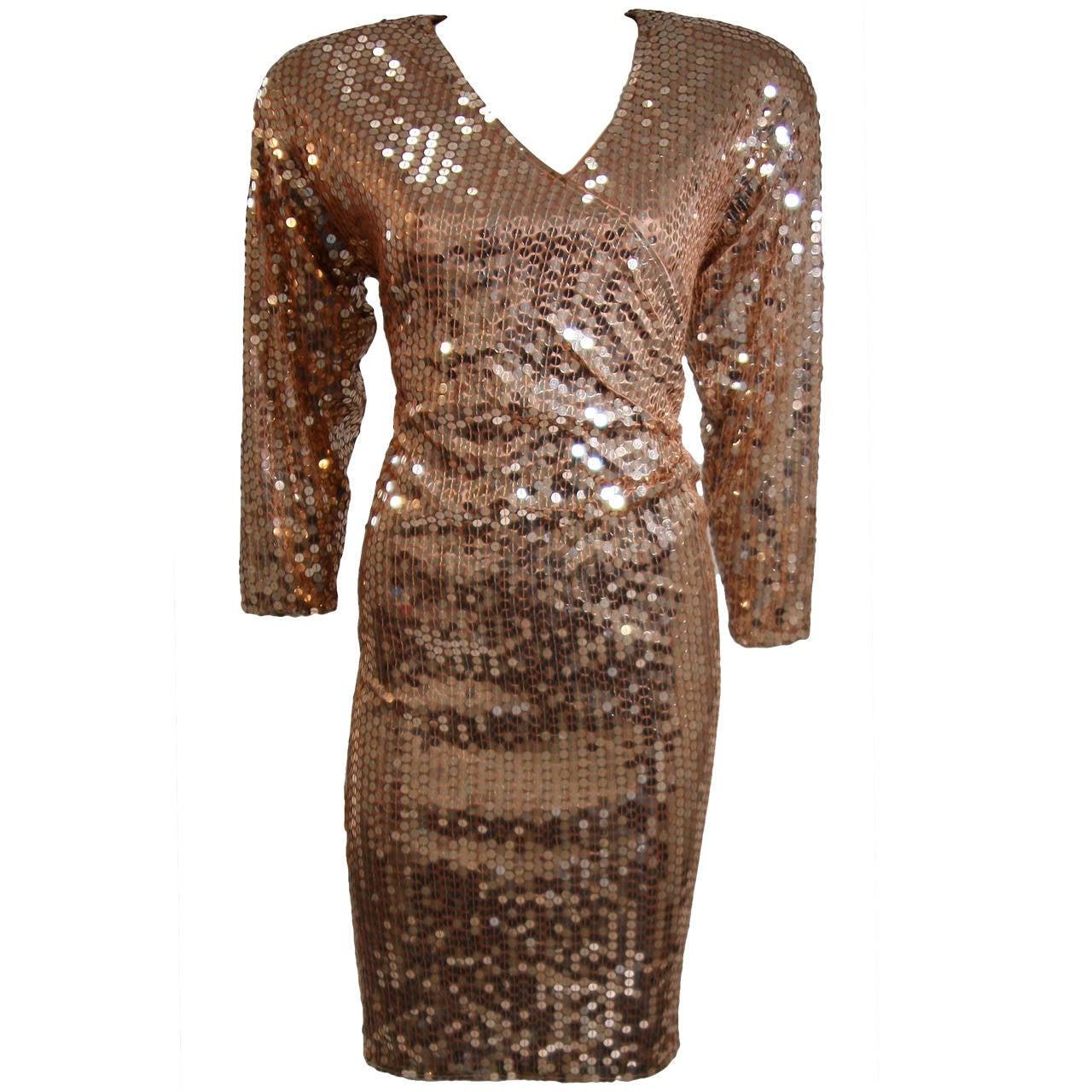 Oleg Cassini Champagne Rose Gold Sequin Cocktail Dress Large 1