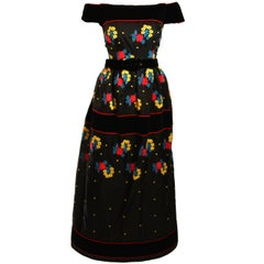 Arnold Scaasi Black Velvet Embroidered Gown with Belt