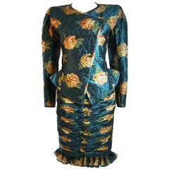 Emanuel Ungaro Teal Floral Skirt Suit with Peplum and Rouching Size 6
