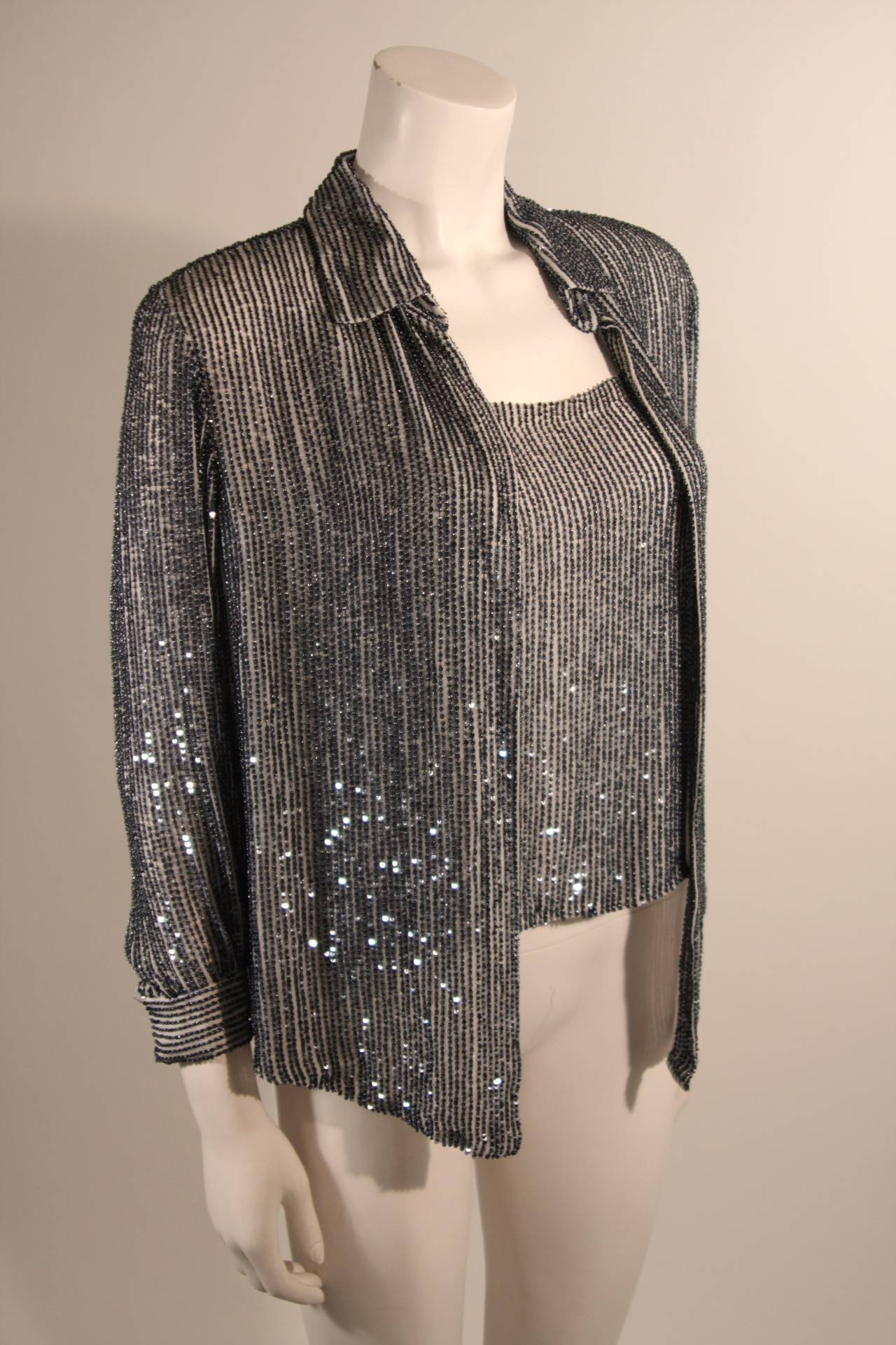 Black Oscar De La Renta Evening Blouse and Camisole Size 8 For Sale