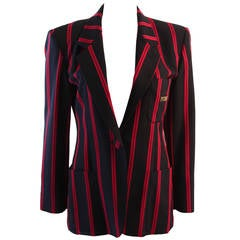 "1990s Moschino Couture Navy & Red Striped wool Carnival Jacket ""Push"" pocket"