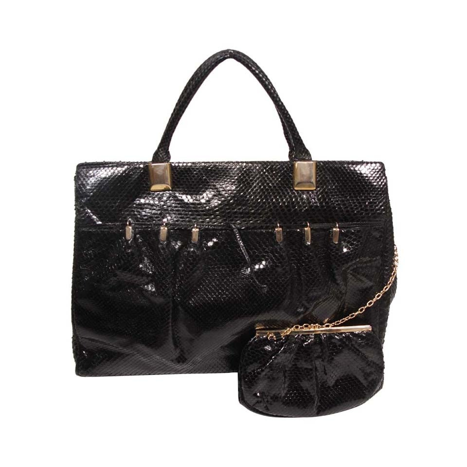 Judith Leiber XL Black Snakeskin Tote with Coin Purse Excellent Condition For Sale