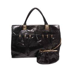 Judith Leiber XL Black Snakeskin Tote with Coin Purse Excellent Condition
