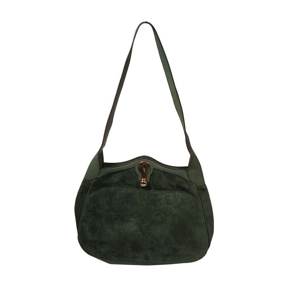 Gucci Green Suede Hobo with Gold Hardware