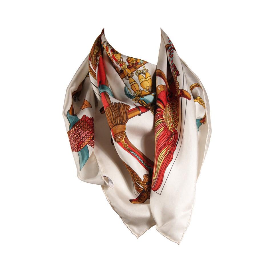 Hermes Passementerie White Silk Scarf with Original Box Francoise Heron For  Sale 2e14745868e