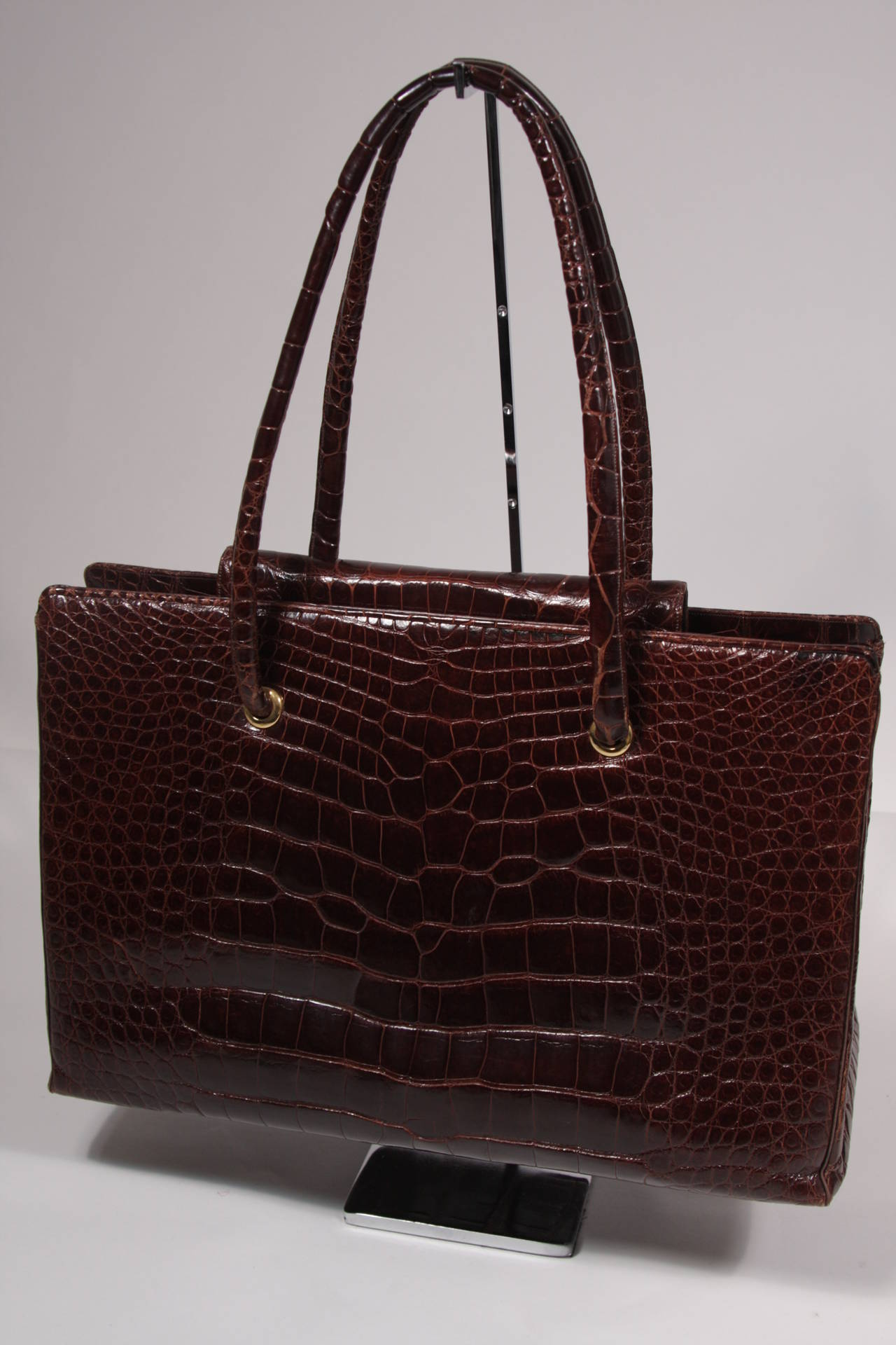 Judith Leiber Extra Large Chocolate Crocodile Shoulder Bag with Snap Top 2