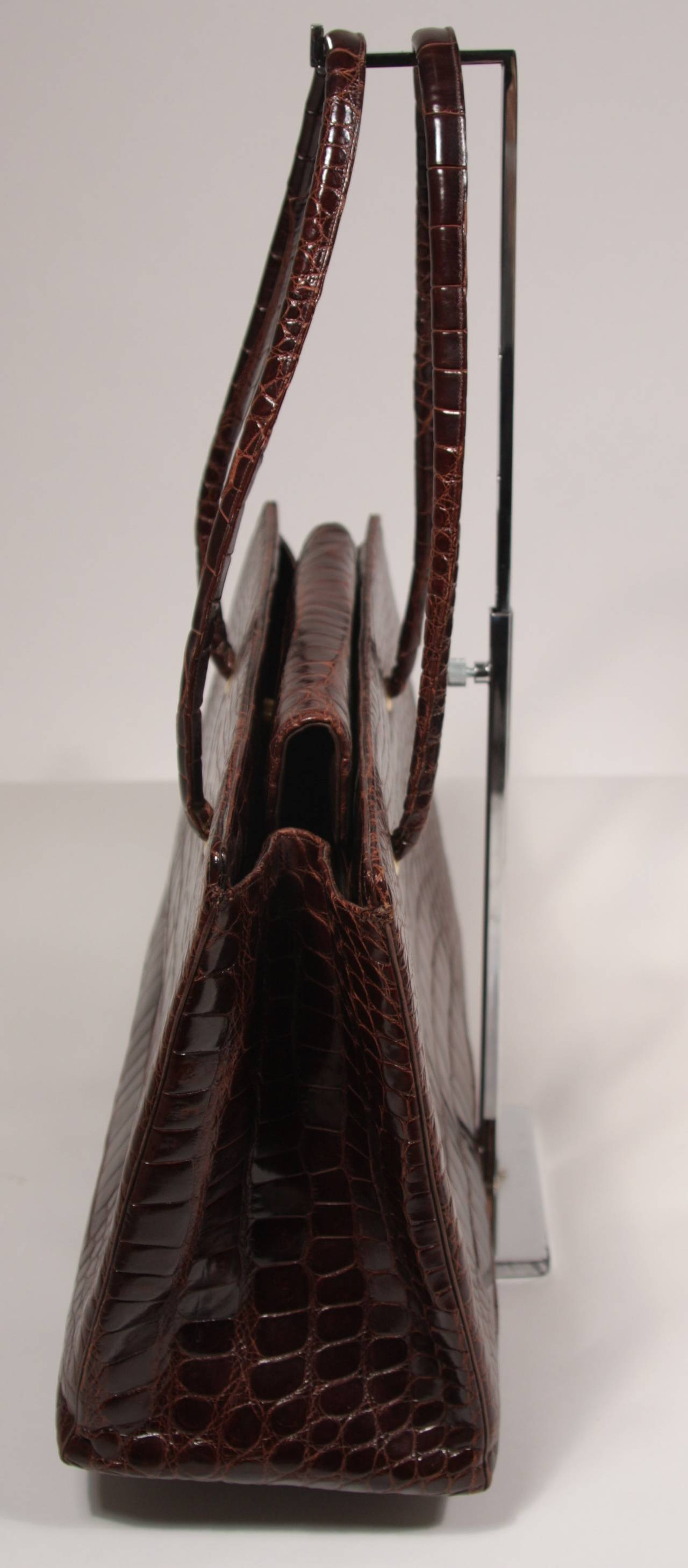 Judith Leiber Extra Large Chocolate Crocodile Shoulder Bag with Snap Top 6