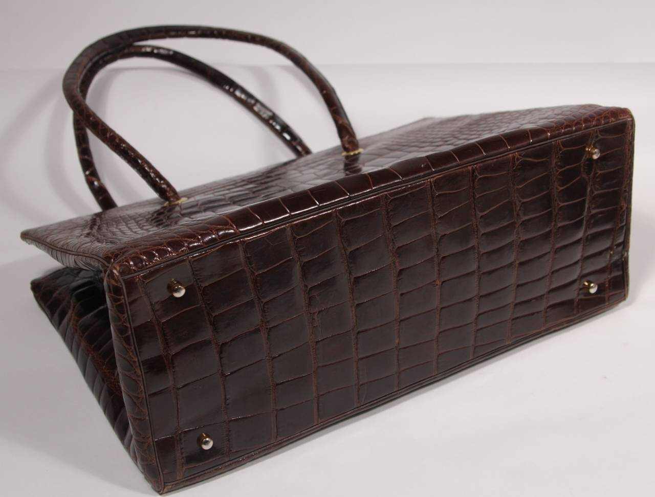 Judith Leiber Extra Large Chocolate Crocodile Shoulder Bag with Snap Top 7
