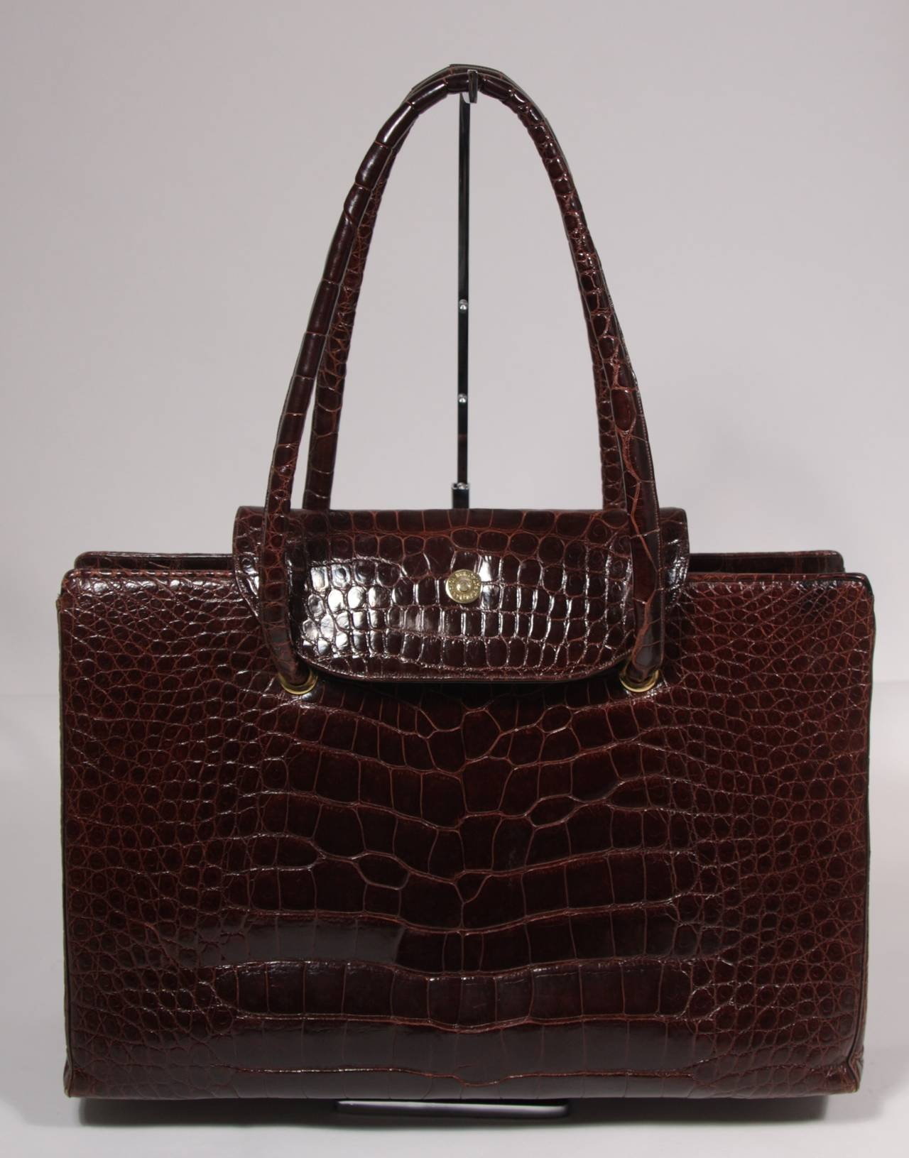 Judith Leiber Extra Large Chocolate Crocodile Shoulder Bag with Snap Top 5