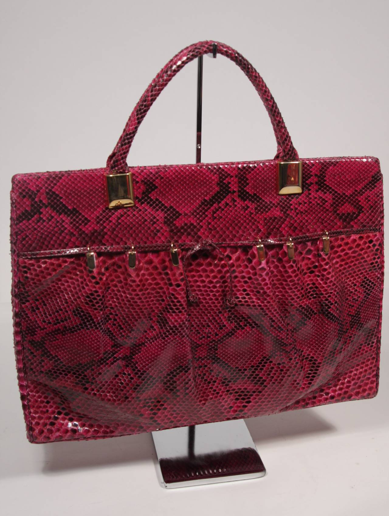 1980's Judith Leiber Extra Large Magenta Snakeskin Tote with Gold Hardware 2