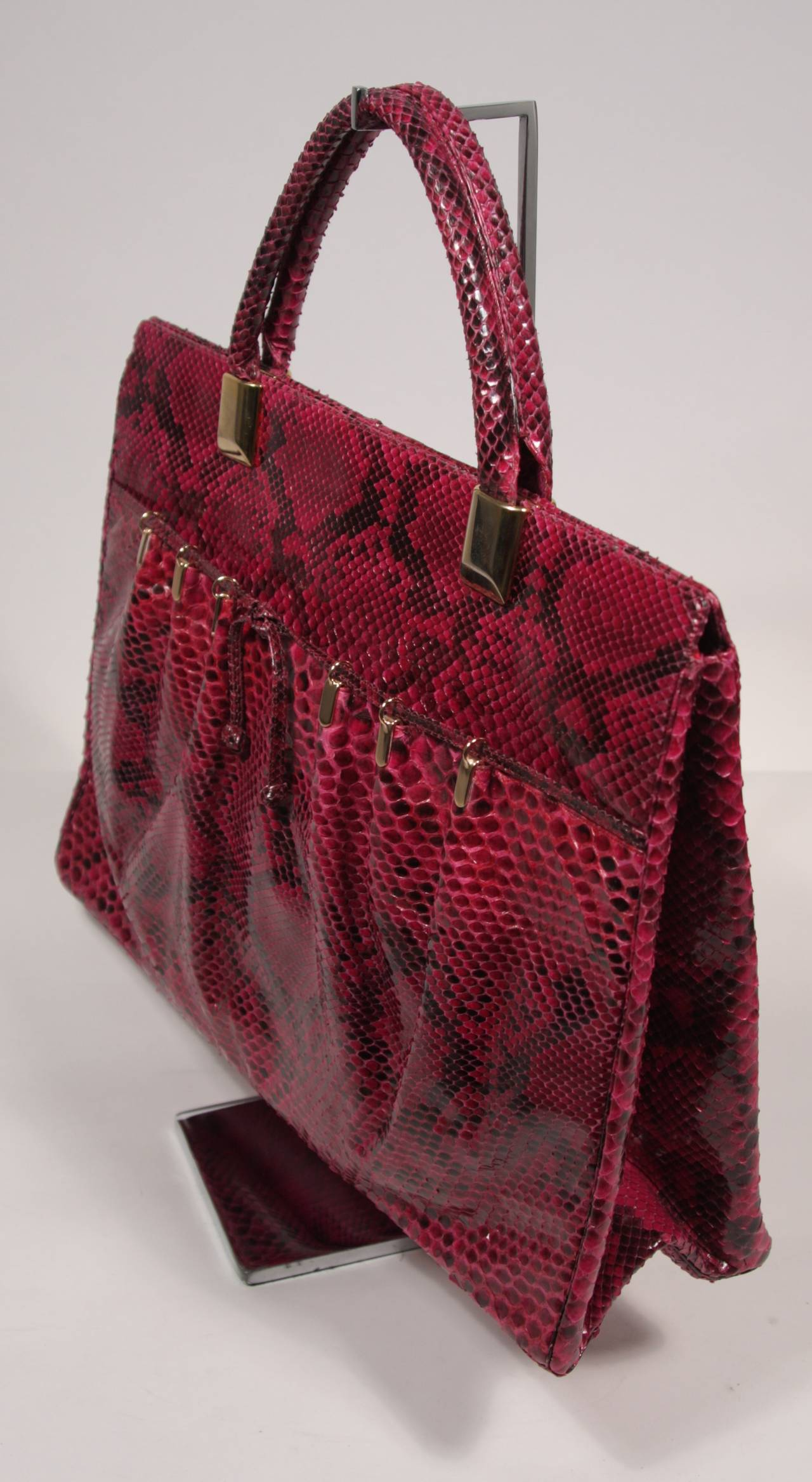 1980's Judith Leiber Extra Large Magenta Snakeskin Tote with Gold Hardware 5