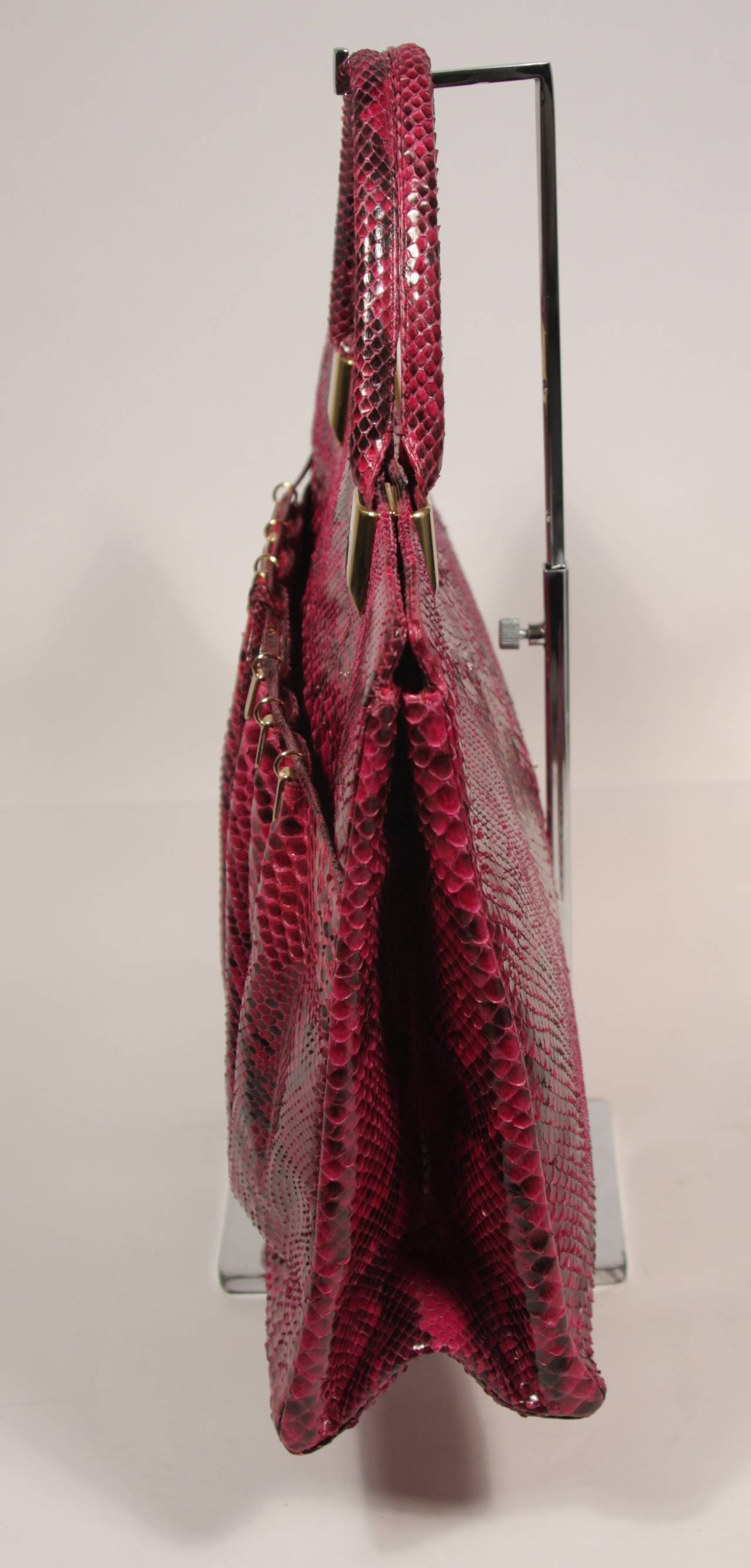 1980's Judith Leiber Extra Large Magenta Snakeskin Tote with Gold Hardware 6