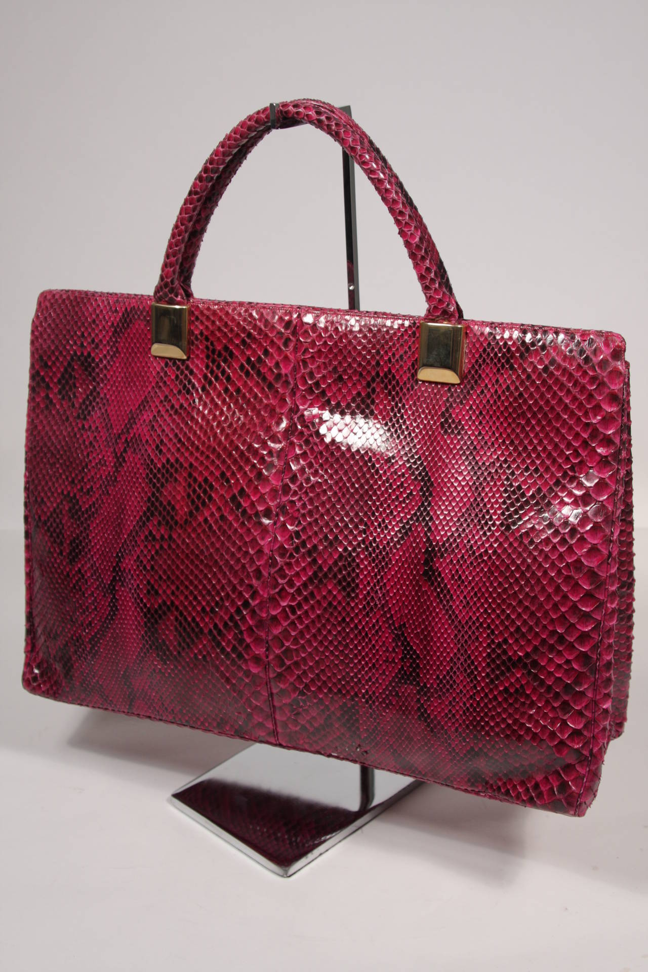 1980's Judith Leiber Extra Large Magenta Snakeskin Tote with Gold Hardware 7