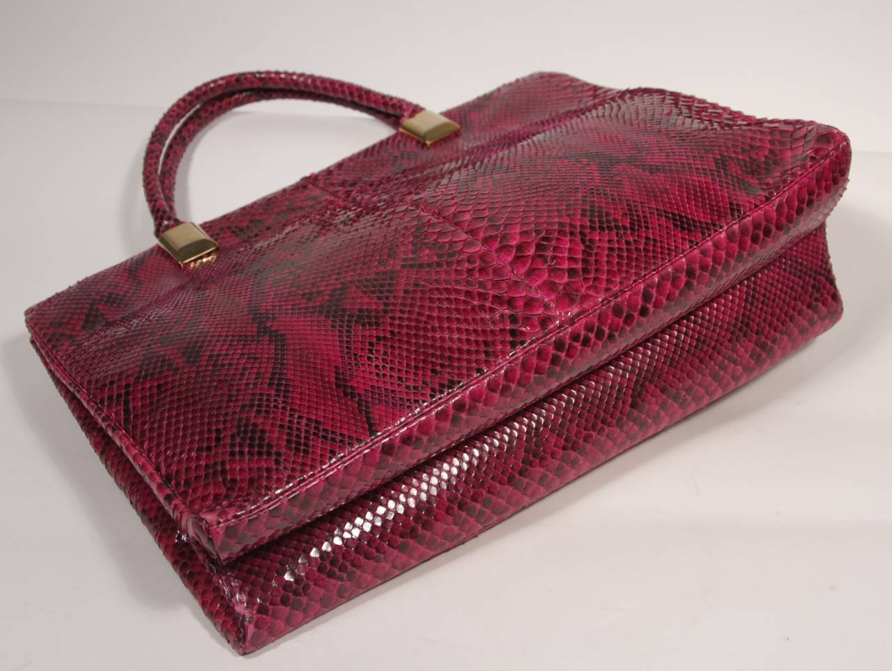1980's Judith Leiber Extra Large Magenta Snakeskin Tote with Gold Hardware 8