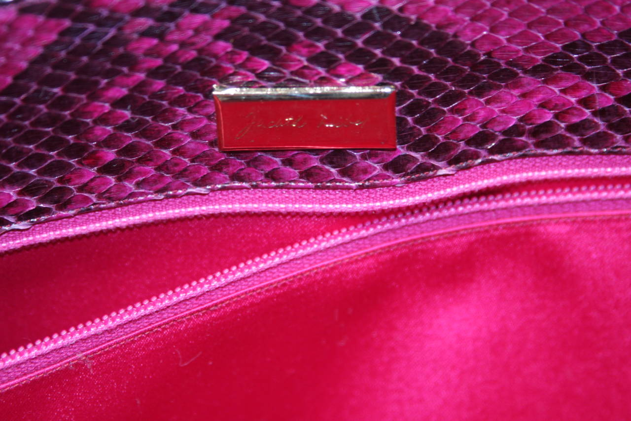 1980's Judith Leiber Extra Large Magenta Snakeskin Tote with Gold Hardware 10