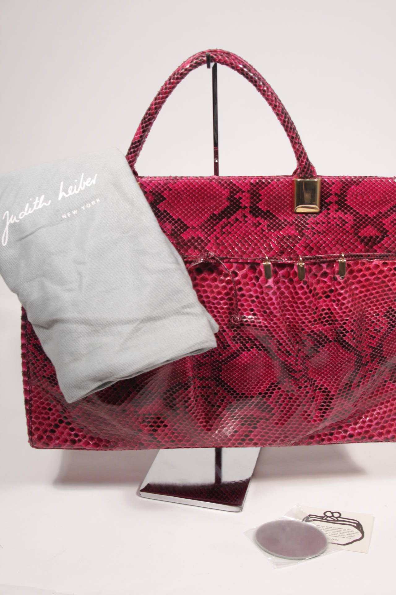 1980's Judith Leiber Extra Large Magenta Snakeskin Tote with Gold Hardware 9