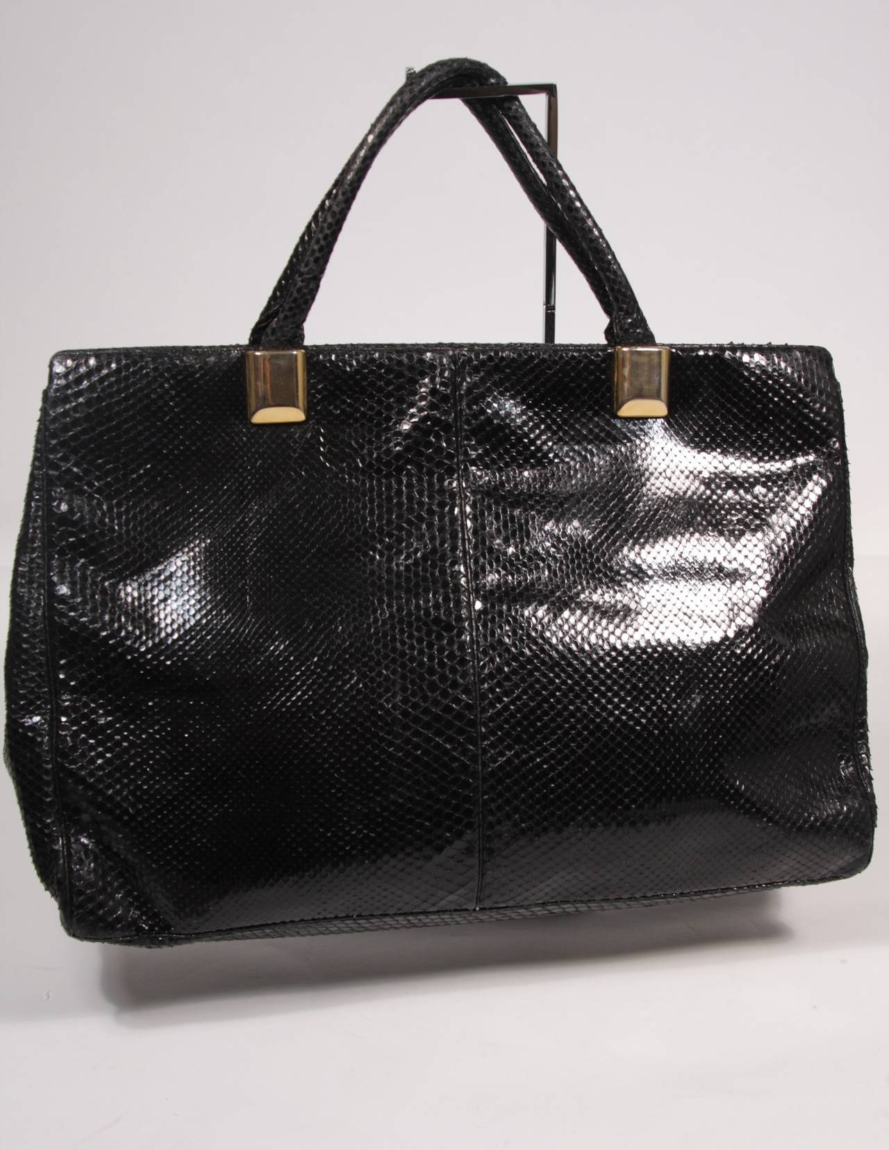 Judith Leiber XL Black Snakeskin Tote with Coin Purse Excellent Condition For Sale 3