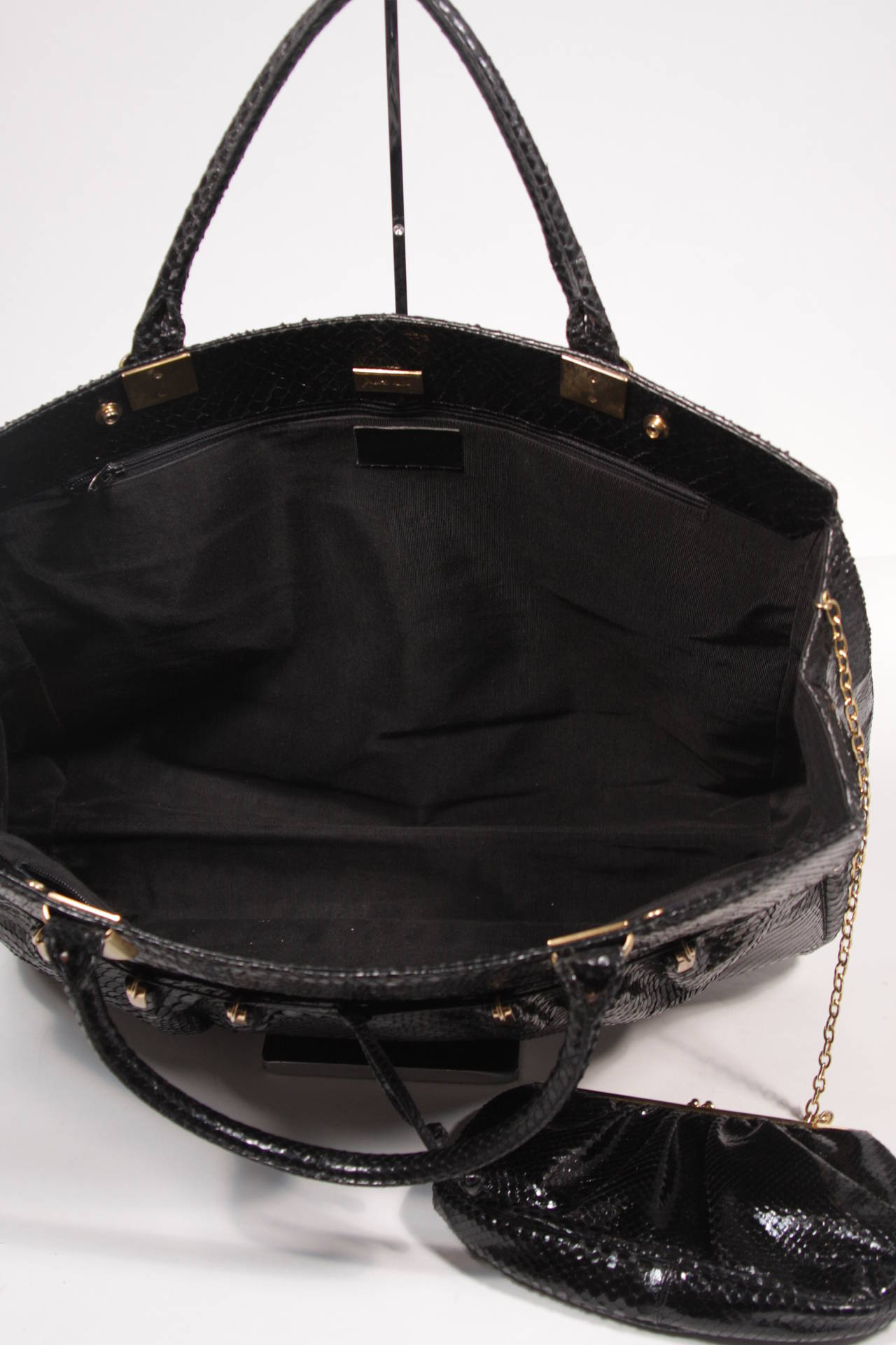 Judith Leiber XL Black Snakeskin Tote with Coin Purse Excellent Condition For Sale 5