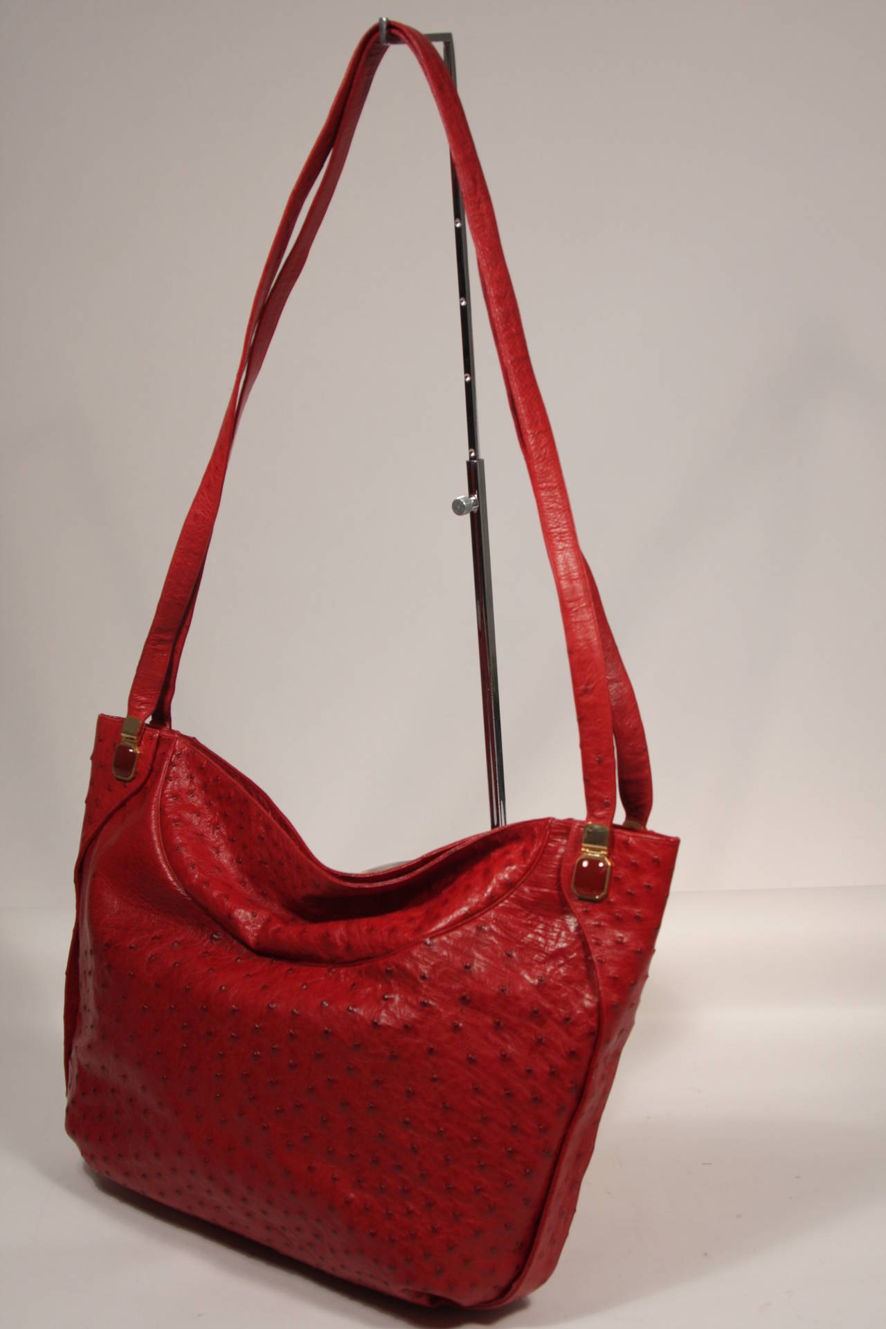 Judith Leiber Extra Large Red Ostrich Purse 2