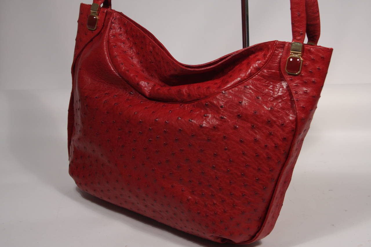 Judith Leiber Extra Large Red Ostrich Purse 6