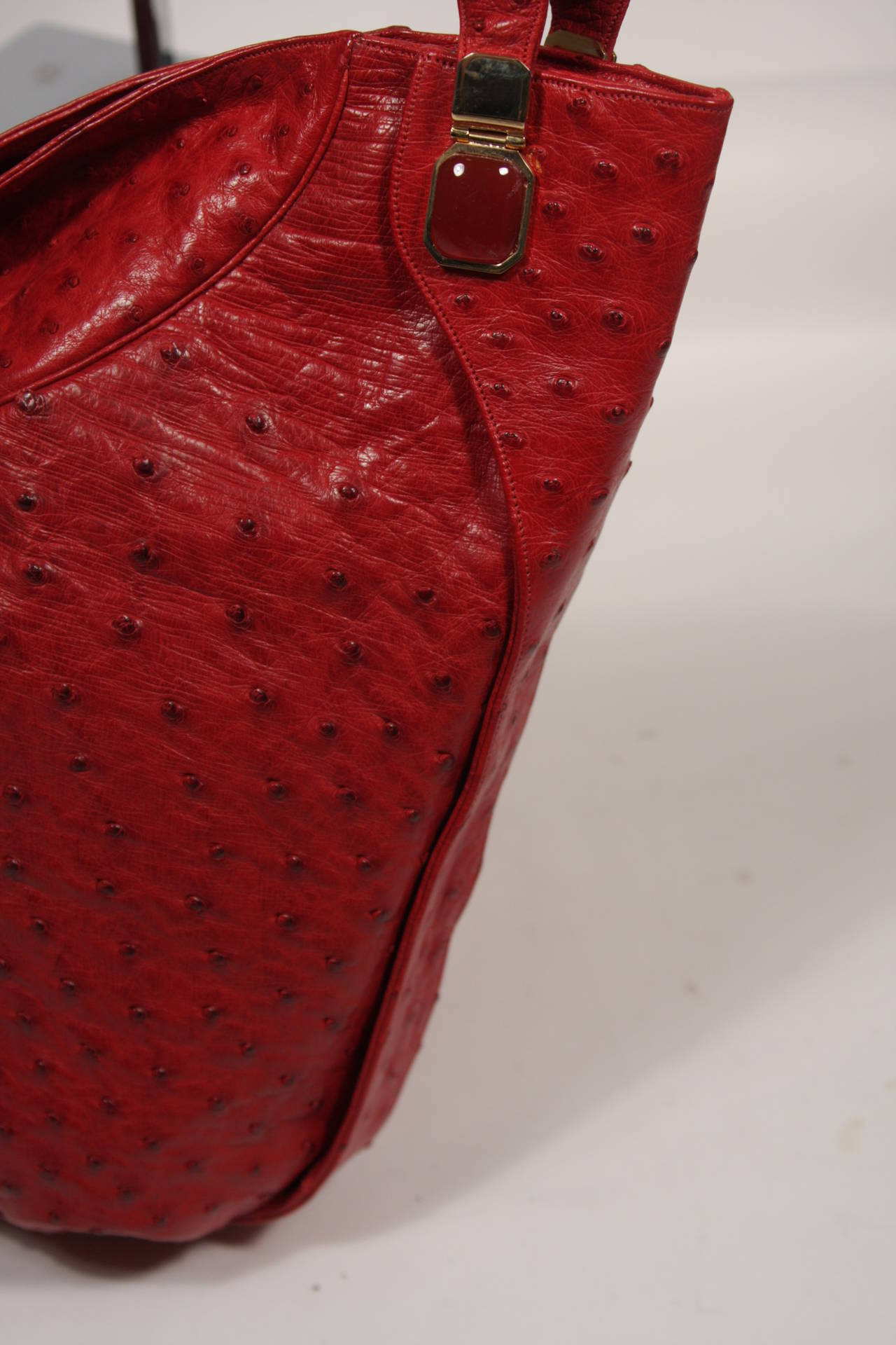Judith Leiber Extra Large Red Ostrich Purse 7