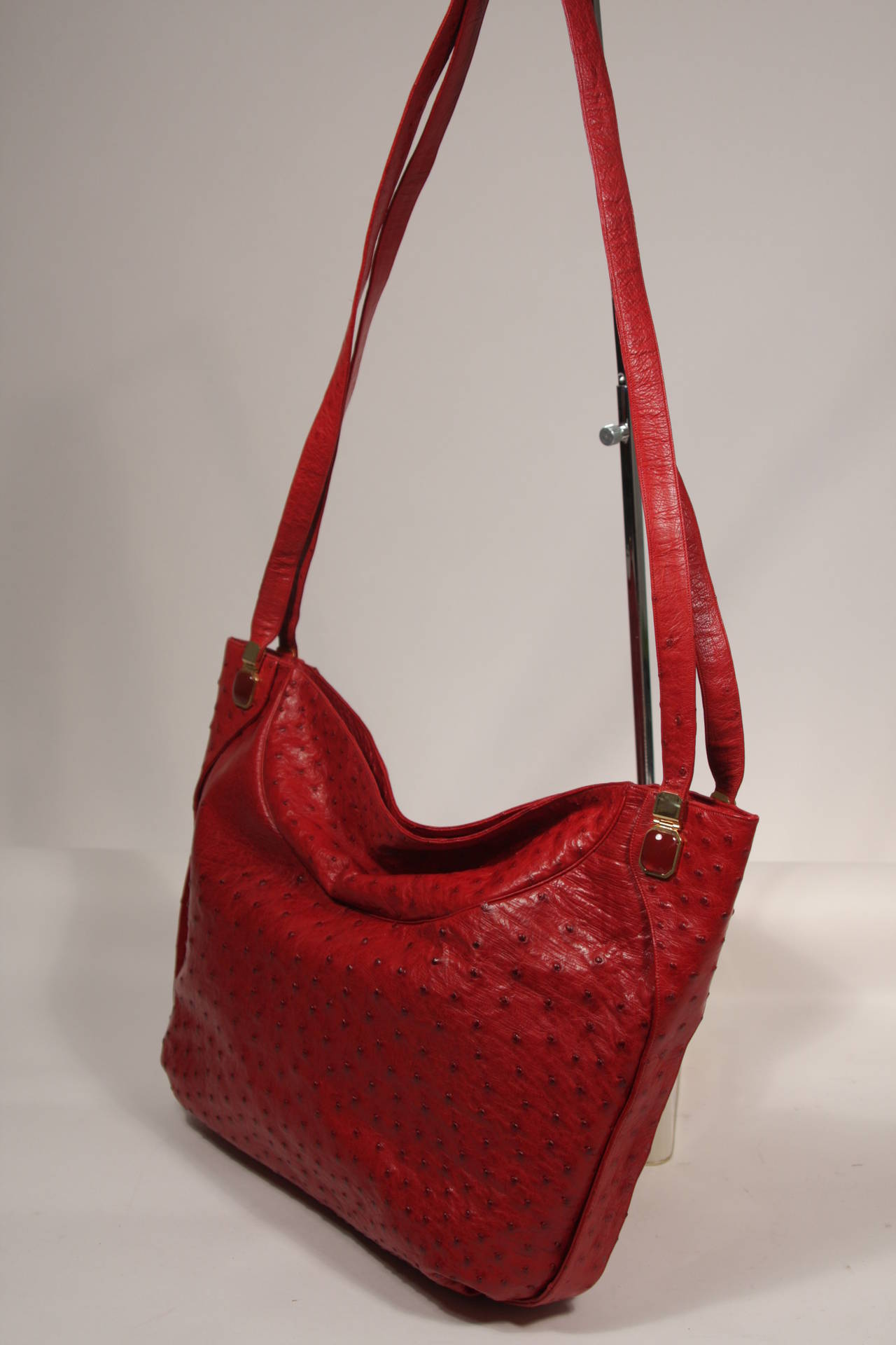 Judith Leiber Extra Large Red Ostrich Purse 5