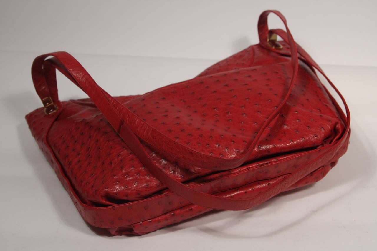 Judith Leiber Extra Large Red Ostrich Purse 8