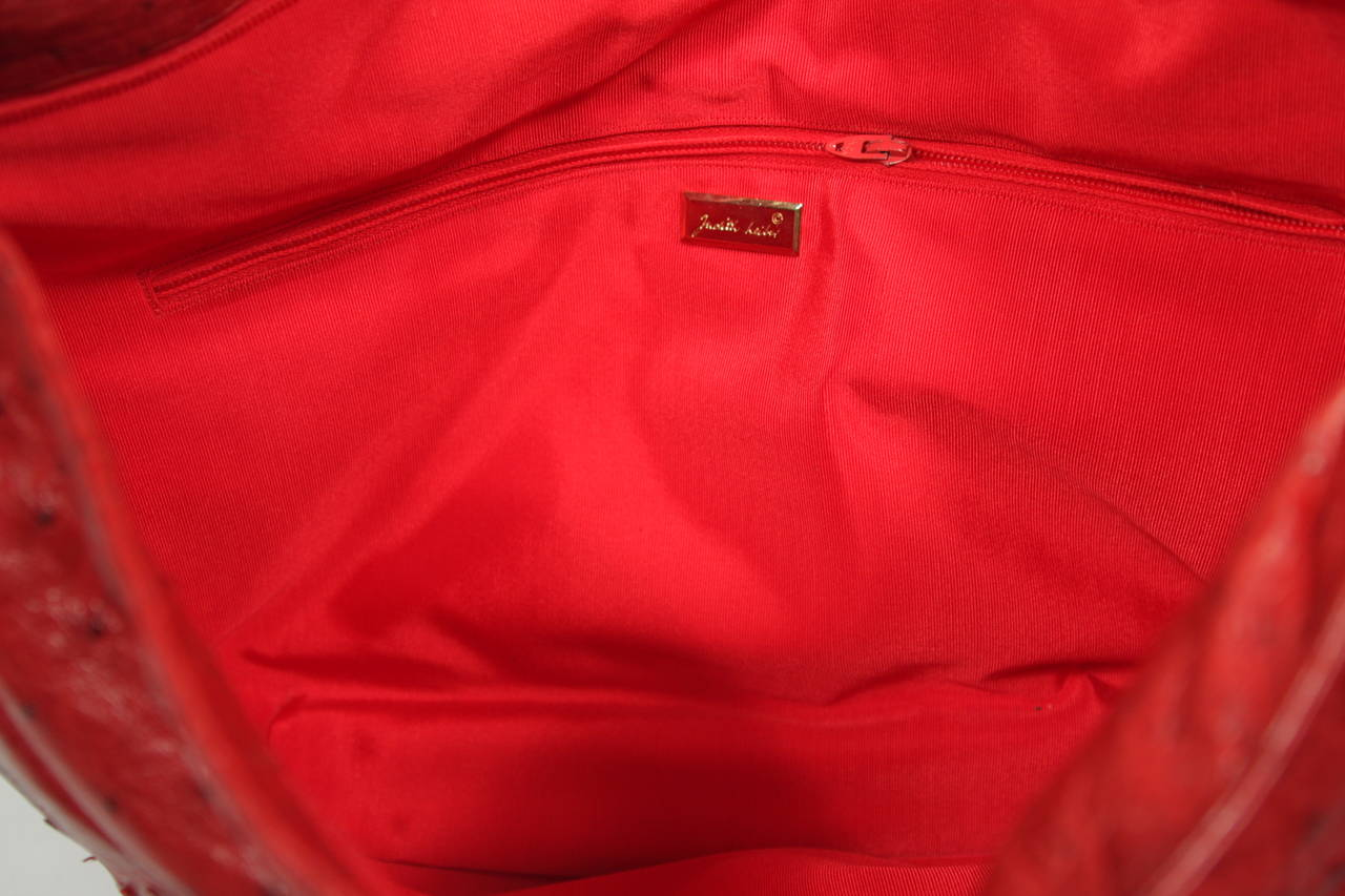 Judith Leiber Extra Large Red Ostrich Purse 10