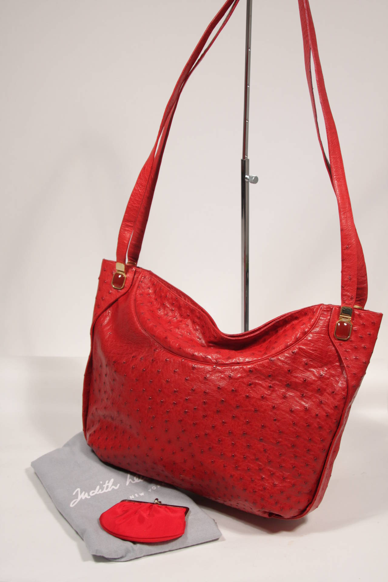 Judith Leiber Extra Large Red Ostrich Purse 9